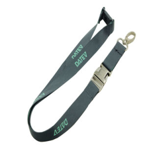 Eco-Friendly Woven Logo Nylon Strap Lanyard with Release Buckle pictures & photos