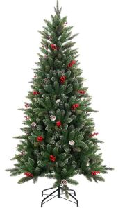 high class 6ft berry cone decorated christmas tree with white tips