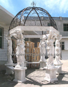Garden Marble Gazebo with Carving Stone Sculpture Statue (GR051) pictures & photos