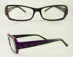 Plastic Reading Glasses With Pretty Diamonds and Rivets on The Frame (R10096)