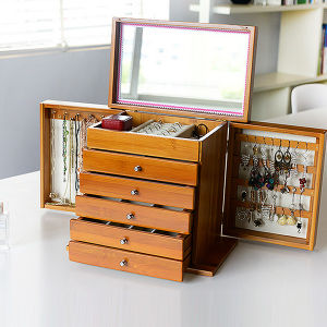 Deluxe Bamboo Jewel/Jewelry Storage Box with Mirror