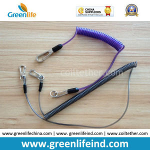 Customized Color Size Security Coil Leash W/Metal Hooks