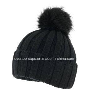 8ba224a01c819 China 100% Acrylic Knit Beanie Hat with Fake Fur Pompom - China ...