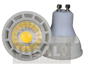 LED GU10 7W COB Spotlight White Finish Non-Dimmable