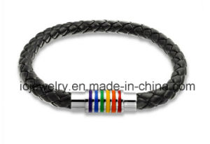 Braided Design Jewelry Black Leather Braided Bracelet pictures & photos