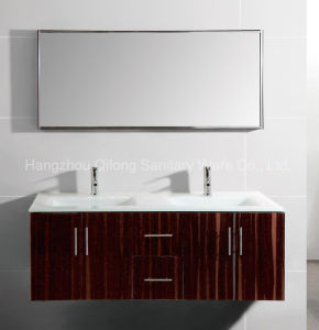 Double Glass Basin Big MDF Cabinet in Bathroom with Mirror Frame pictures & photos