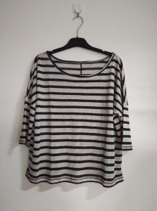 100% Linen/Shoulder Style/Black and White/Women′s Clothing
