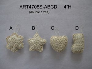 "4""H Ivory Crochet Tree Ornaments, 4asst-Christmas Decoration pictures & photos"