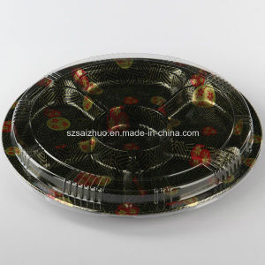 6 Compartment Round Floral Printed Top Grade Disposable Plastic Sushi Box pictures & photos