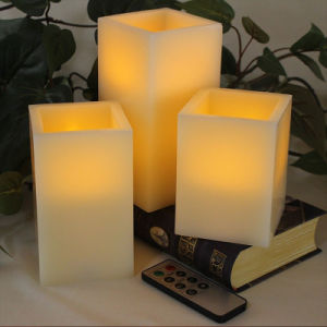 China Ivory Wax Amber Yellow Flameless Battery Operated Candles
