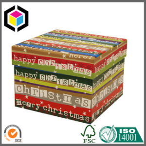 Two Pieces Rigid Cardboard Christmas Paper Gift Box with Lid