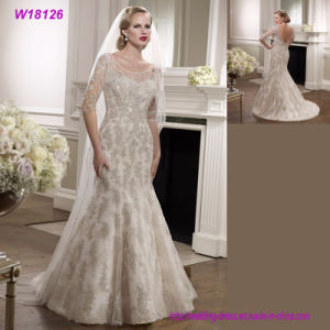 Grey Lace V Back Bridal Wedding Dress