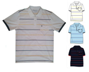 Men′s Yarn Dyed Polo Shirt 95% Cotton 5% Spandex Model Embroidery