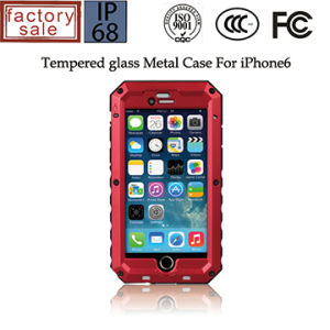 for iPhone 6 Plus Waterproof Case Metal Tempered Glass