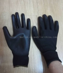 13G Black Polyester Shell, Black PU Palm Coated Gloves pictures & photos