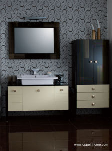 Tempered Glass Countertop Bathroom Cabinets (OP-W1216-130)