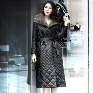 3040d2963 Genuine Leather Garment Sheepskin Coat Women Down Jacket Black Lengthen  High-Grade Mink Cap Winter Coat