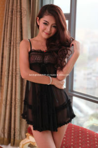 Heart Pattern Lace Babydoll with G String #SL-97