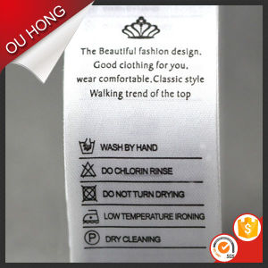 Custom Soft Polyester Satin Printed Care Wash Label