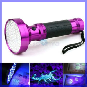 New Rose Red Aluminum 100 LED Blacklight UV Torch Scorpion Finder Nail Lamp AA Battery (LED100) pictures & photos