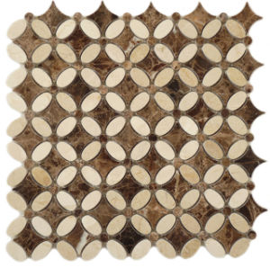 Crema Marfil Mix Dark Emperador Flower Mosaic Tile pictures & photos