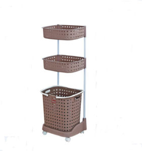 China 3 Layer Laundry Basket With Wheel Brown Plastic