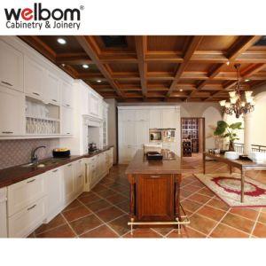 European Fashion Matt Painted White Wooden Kitchen Cabinets With Brown Island