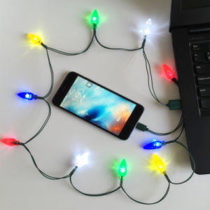 merry christmas gift glow colorful led string phone charger micro usb charging cable with fairy lights