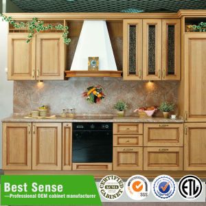 Modern Cherry Finished Display Wooden Kitchen Cabinet for Sale pictures & photos
