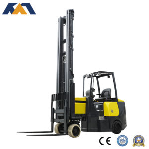 4-Way Narrow Asile Electric Forklift Working in Very Narrow Aisle