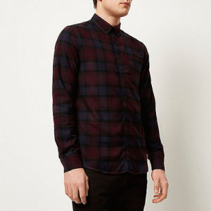Dark Purple Check Flannel Men Long Sleeve Shirt pictures & photos