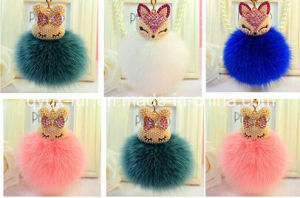 Fox Fur Ball Key Chain / Fur Ball Keychain