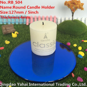 4mm Round Blue Glass Mirror Candle Holder