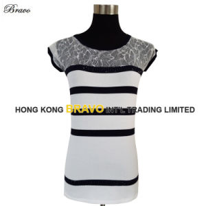 Top Fashion Ladies Short Sleeve Stripe Knitted Sweater (E25)