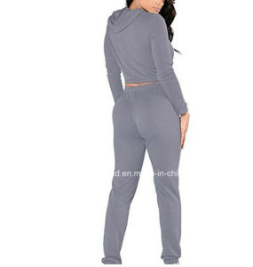 Long Sleeve Hole Hooded Top with Pants 2 Piece Sport Sets Tracksuit pictures & photos