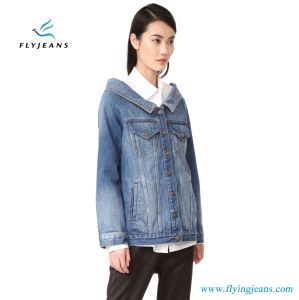 Boxy Denim Jacket for Women and Ladies with a Wide Shoulder-Baring Neckline pictures & photos