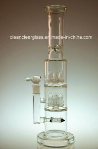 Heavy Glass Water Pipe Smoking Pipe with Rocket Perc and 2 Layer Showerhead Perc