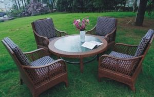 Awe Inspiring Round Table Pe Rattan Outdoor Garden Furniture With Cushion Gmtry Best Dining Table And Chair Ideas Images Gmtryco