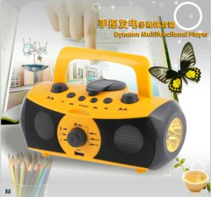 Music Speaker, Hand Crank Dyanmo Flashlight, Mobile Phone Charger (XLN-701)