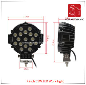 LED Car Light 7 Inch 51W LED Work Light for SUV Car LED off Road Light and Driving Light pictures & photos