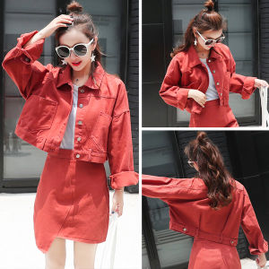 China Red Casual Short Button Denim Jacket 2018 New Women Basic
