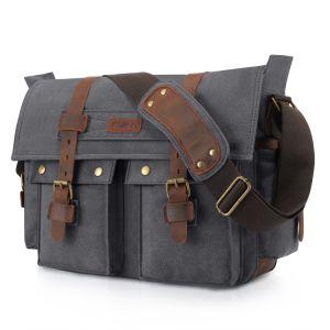 Color : Brown XIAMEND Mens Messenger Shoulder Bag Vintage Leather Briefcase Crossbody Bag for School and Work