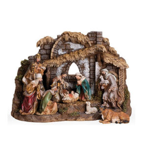 China 10 Piece Nativity Set With Stable Includes Holy Family Three Kings Shepherd Ox And Sheep 11 H Resin And Stone Decorative Figures China Nativity Set And Polyresin Nativity Set Price