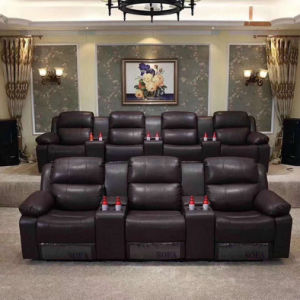 Brown Color Home Theater Manual Type Recliner Cinema Sofa (Home 3)
