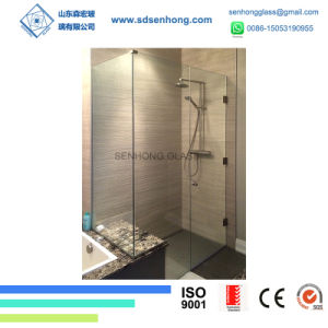 China 38 Clear Etched Swing Sliding Frameless Tempered Glass Shower