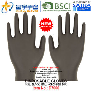 Black Color, Powder-Free, Disposable Nitrile Gloves, 100/Box (S, M, L, XL) with CE. Exam Gloves pictures & photos