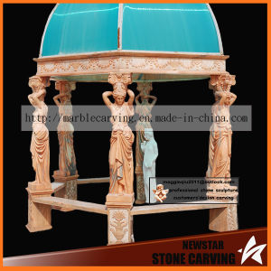 Statues Columns Yellow Marble Carving Gazebo Ns024 pictures & photos