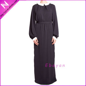 Lady′s Elegant Belted Doll Collar Islamic Maxi Dress