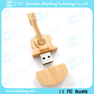 Guitar Shape Wood USB Pen Drive with Engraving Logo (ZYF1351)