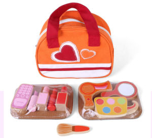 2015 New Sweet Pink Wooden Cosmetic Set Makeup Toy DIY Toy for Fashion Girl